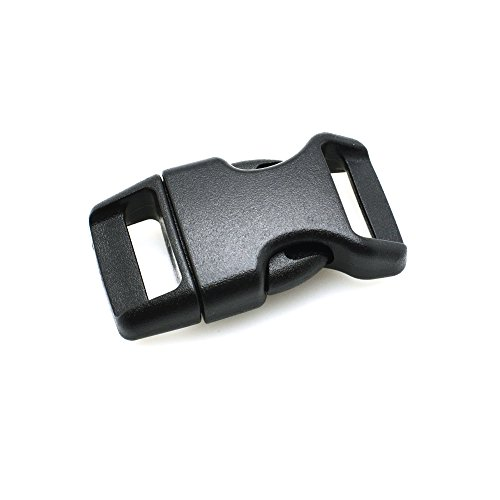 "5/8"" Contoured Side Release Buckles for Paracord Bracelets Multiple Color and Quantity (black, 10 pack)"