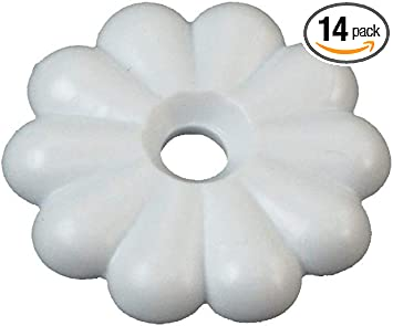Interior Hardware Rosette Washers with #6 Screws 14 Per Pack White RV Designer H613