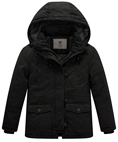 WenVen Boy's and Girl's Winter Parka Coat Thicken Cotton Twill Hooded Jacket, Black, 8Y (Black Jacket Twill Kids)