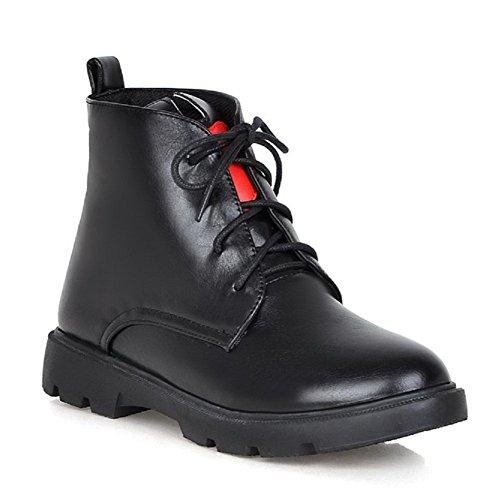 Allhqfashion Chaussures À Lacets Basses En Tissu Souple Low-top Pour Femme Noir
