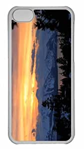 Customized iphone 5C PC Transparent Case - Winter Sunset Scene 2 Personalized Cover