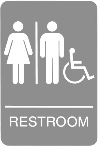 Headline Sign 5222 ADA Wheelchair Accessible Restroom Sign with Tactile Graphic, 6 Inches by 9 Inches, Light Gray/White