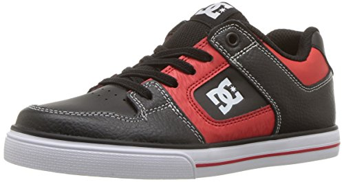 DC Boys' Pure Elastic SE Skate Shoe, Black/RED, 13 M US Little Kid ()