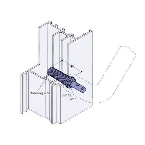 HEWI Befestigung einseitig fü r Stoß giff BA 5.1 | Tü rstä rke ab 50 mm | Stahl verzinkt 4014884505618