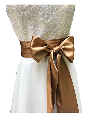 Eyrie Special Occasion Dress sash Bridal Belts Wedding sash 4'' Wide Double Side (Dark Champagne)