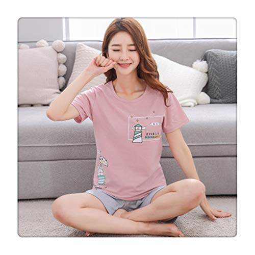 Eairouquji Pajamas for Women Home Clothes Pyjamas Female Sleepwear Homewear  Plus Size Cotton Pajama Set Kawaii 611596f2f