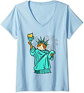 Womens Statue Of Liberty Cat Fireworks 4th Of July s Gifts V-Neck T-shirt | Size S - 5XL