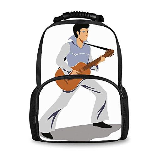 (Elvis Presley Decor Adorable School Bag,Musician Artist Guitar Instrument Rock and Sound Cartoon for Boys,12