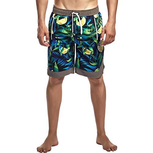 (POHOK Men Shorts Prints Men's Shorts Beach Pants Three Pants Sports Shorts Fitness Pants Swim Shorts(L,Green))