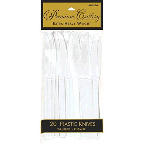Premium Heavy Weight Plastic Knives | Frosty White | Pack of 20 | Party Supply -