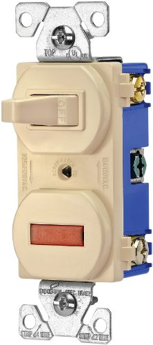 EATON Wiring 277V 15-Amp 120-volt Combination Single Pole Toggle Switch and Pilot Light with Back and Side Wiring, Ivory