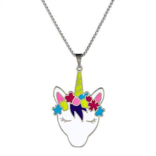 Vinjewelry Colorful Unicorn Fairy Magic Charm Necklace Child Girl Holiday Birthstone Gift