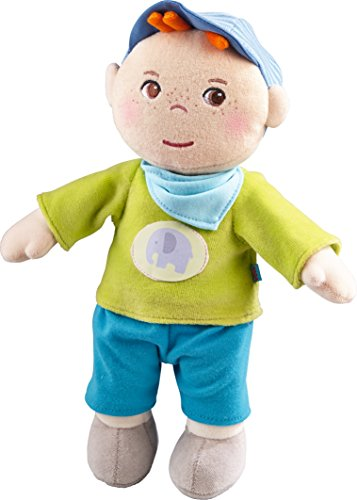 "HABA Snug up Jonas - 11.5"" Soft Boy Baby Doll with Embroidered Face - Machine Washable for Babies 6 Months +"