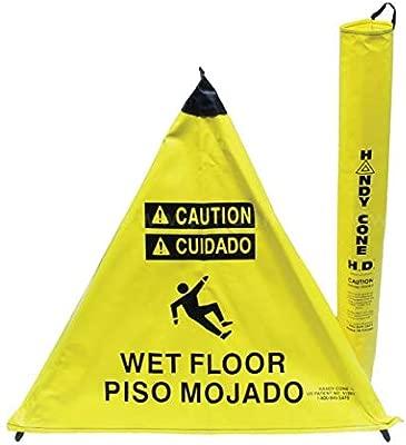 Handy Cone Señal de suelo mojado, vinilo amarillo (7 ...