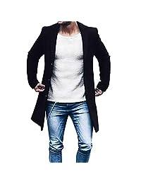 Mens Blazer Jacket Trench Coat,Charberry Autumn Winter Button Slim Long Sleeve Suit Coat Top Blouse