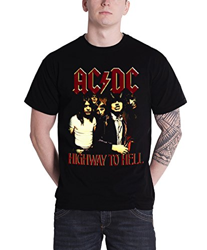 Ac/Dc T Shirt Highway To Hell Band Logo Angus Official Mens Black