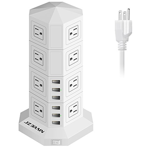 JZBRAIN 16-Outlet 6-USB Tower Surge Protector Power Strip Power Socket Strip 9.8ft Cord (White) - 2 Gang Ac Power Accessory