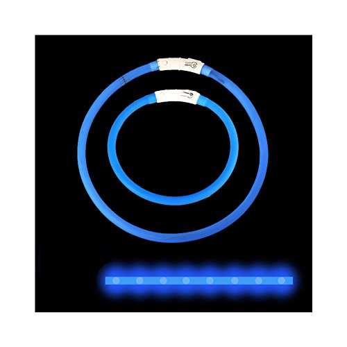 Huluwa LED Dog Collar USB Rechargeable Light Up Collar for Small Medium Large Dogs, Flexible Cuttable Size, Three Flash Modes, Blue