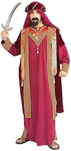 Plus Sultan Costume Size (UHC Men's Egyptian Sultan Outfit Middle Eastern Theme Halloween Fancy Costume, OS (Up to)