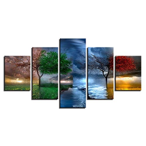 Adarl DIY 5D Diamond Painting by Number Kit, Full Drill Rhinestone Embroidery Cross Stitch Picture for Wall Decoration, 5 Sets of Splicing Painting(Four Season Tree)
