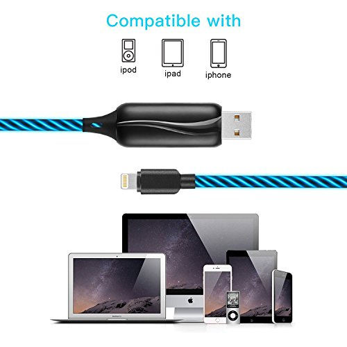 hot sale Lightning to USB Cable 360 Degree Light Up Visible Flowing Glowing LED iPhone Charger Cable to USB Syncing and Data Cord for iPhone 7/7 Plus/6/6 Plus/6s/6s Plus/5/5s and more-3ft (black)