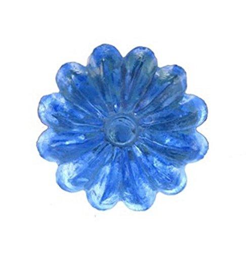 Blue Cornflower Glass Drawer Dresser Cabinet Cupboard Pull Knob - -