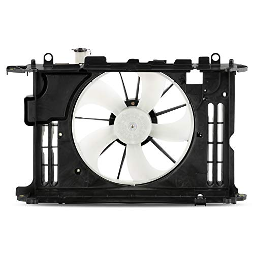 (Fits 2014 2015 2016 Toyota Corolla 1.8L Sedan Model Replacement Condenser Radiator Cooling Dual Fan Assembly w/Motor)