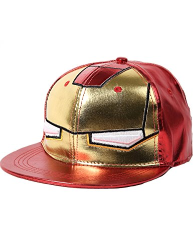 SSLR Men's Cartoon Iron Man Flat Bill Caps (One Size, Red) (Iron Man Hat compare prices)