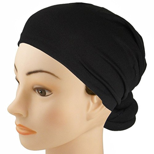 SSK Hand-Made Pre-Tied Knotted Head Wrap Scarf (Black) (Head Wrap Scarf)