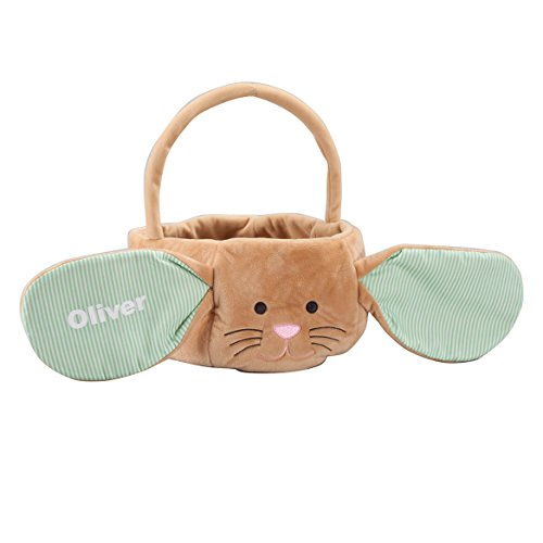 (Miles Kimball Personalized Kids Easter Basket, Plush Brown Bunny with Floppy Pin Stripe Ears)