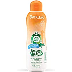 TropiClean Natural Flea and Tick Shampoo For Dogs and Puppies, Plus Soothing Cocoa Butter For Dry Irritated Skin, Effectively Repels Fleas and Ticks, Safe to Use On Dogs 12 Weeks and Older, 20 oz.