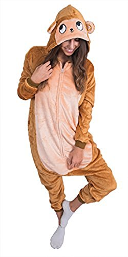 Adult Onesie Monkey Animal Pajamas Comfortable Costume with Zipper and Pockets (Large)