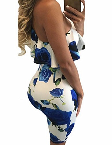 Floral Ruffled Printing Women Shoulders Oblique Cocktail Blue Dress Coolred XqwzUOa