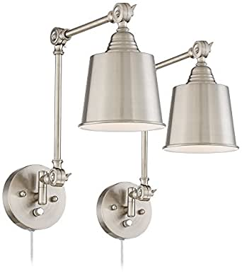 Set Of 2 Mendes Brushed Steel Plug In Wall Lamps