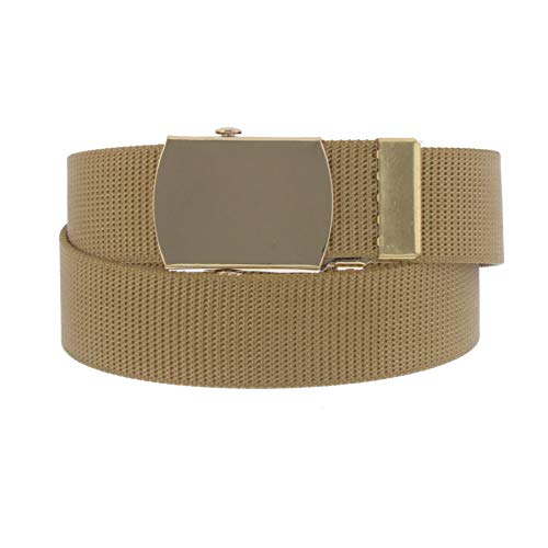 Sunny Belt Women's Military Nylon Web Belt with Gold Buckle (Tan, One - Jeweled D-ring