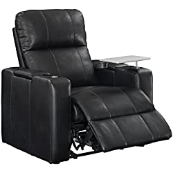 Pulaski Power Home Theatre Recliner, USB Port, Tray, Blanche Black