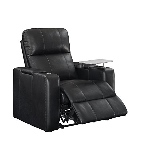 Home Movie Theater Chairs (Pulaski Power Home Theatre Recliner, USB Port, Tray, Blanche Black)