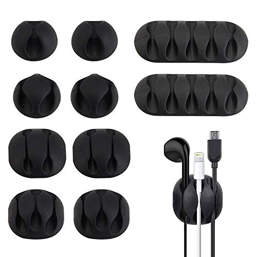 Cable Clips, CODIRATO 10 Pack Self Adhesive Cord Organizer Cable Management for Organizing Cable Cords Home and Office, Black Cord Holders