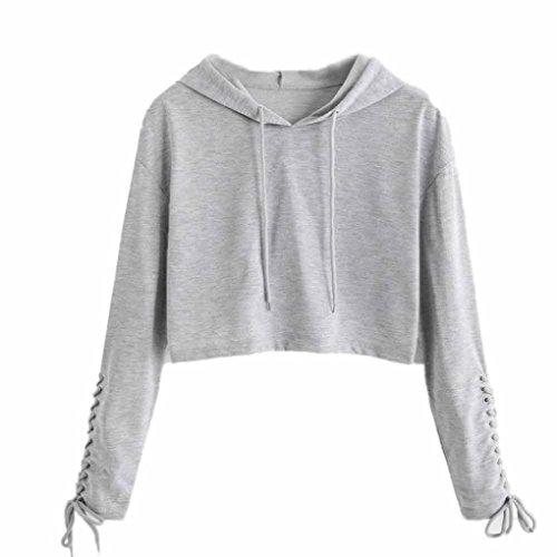 FDelinK Clearance Women Teen Girls Hoodie Sweatshirt Jumper Sweater Crop Sports Pullover Tops (Gray, ()