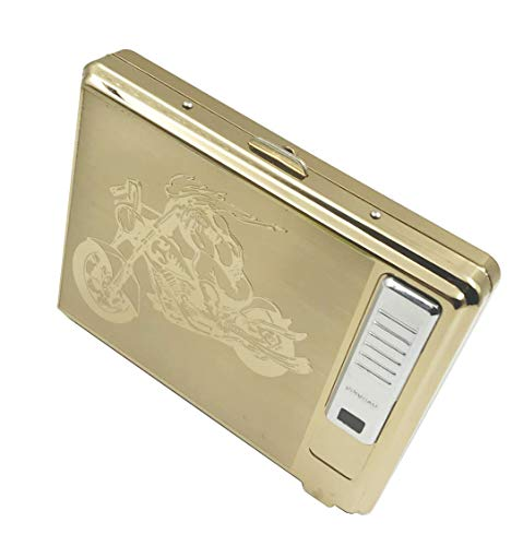 Moonwbak Cigarette Case Lighter, Metal Full Pack 20 Regular Cigarettes Box Holder USB Rechargeable Cigar Lighter Flameless Windproof with USB Cable Best for Birthday Gifts (Motorcycle)