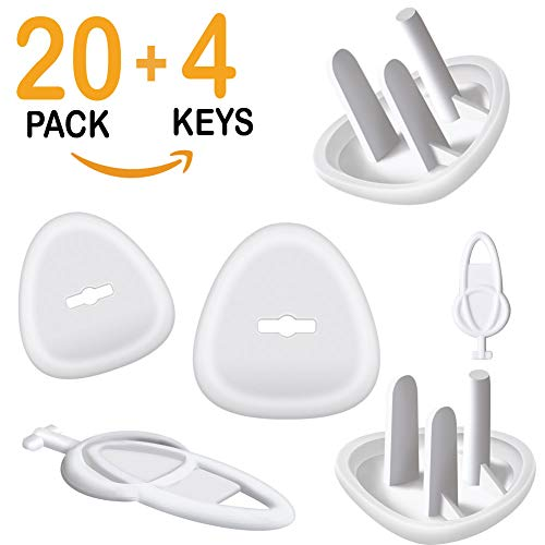 - Outlet Covers, Baby Proofing Outlet Plugs, Electrical Wall Outlet Cover for Baby Safety (20 Plugs + 4 Keys)