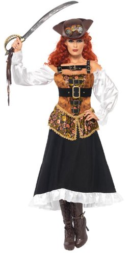 Large Smiffys Adult Women's Steam Punk Pirate Wench Costume, Dress with Sleeves and Buckles, Pirates, Size  M, 28709