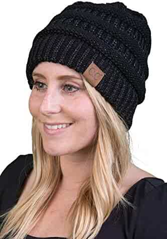 c2a8d9c7b1a Funky Junque CC Solid Ribbed Beanie – Soft Stretch Cable Knit - Warm Skull  Cap