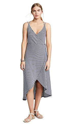 Z SUPPLY Women's Capri Wrap Dress, Black Iris/White Stripe, Large