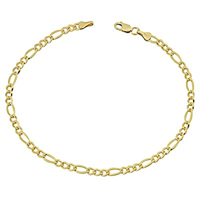 14k Yellow Gold Filled Solid 3.2mm Figaro Link Bracelet (8.5 inch) from Fremada