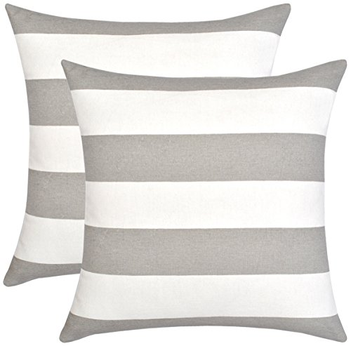 Urban Style Decor, Throw Pillow Cover (Set of 2) Cotton Printed Stripes Design Decorative Cushion Covers ( 2 Pillowcases; 18 x 18 inches ; Grey & White) (Stripe Grey Cushion)