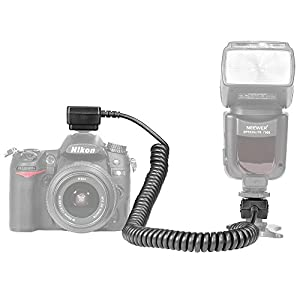 Neewer 9.8 feet/3 m i-TTL Off Camera Flash Speedlite Cord for Nikon D3000,D3100,D3200,D3300,D5000,D5100,D5200,D5300,D5500, D7000,D7200,D7100,D90,D600,D800,D800E,P7000,P7100 DSLR Cameras