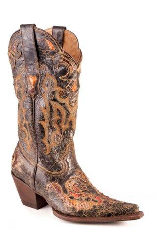 Stetson Women's Fashion Disstressed Python Brown Leather ...