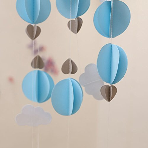 Pack of 4 Baby blue Clouds Hot Air Balloons Garland Up Up and Away Photo Prop -