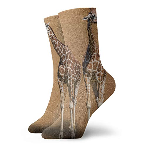 - YIEOFH Two Giraffe Skin Texture Novelty Boys Girls Fashion Cute Funny Casual Art Crew Socks